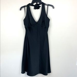 BCBGMaxAzria Silk Black Halter Mini Dress